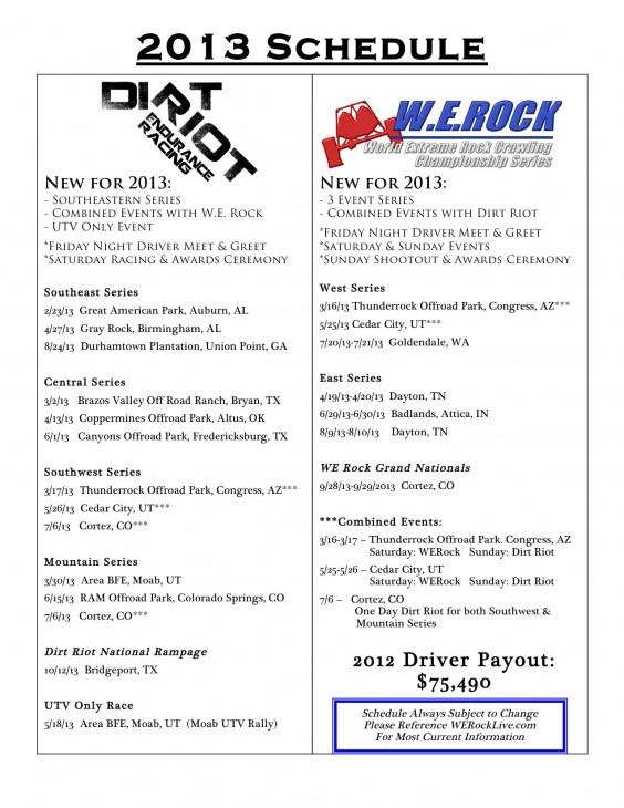 2013 dirt riot werock Schedule PUBLIC